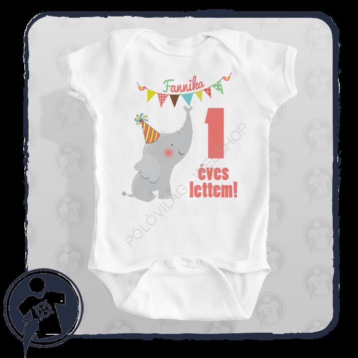 05bee9aa36 Gyerekeknek - babáknak | 1 éves lettem - elefántos szülinapos ...