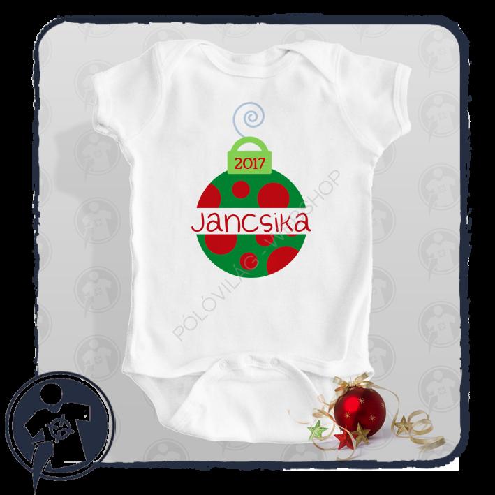 3e5ea18f9b Gyerekeknek - babáknak   Karácsonyi zöld-piros díszgömb mintás body ...