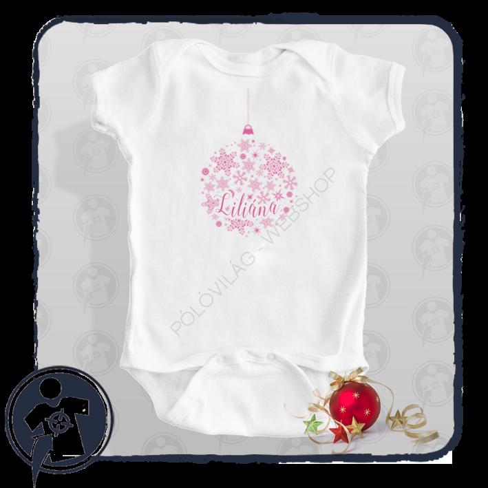 Karácsonyi body póló díszgömb mintával hópelyhekkel - saját névvel 0c6d60ee66