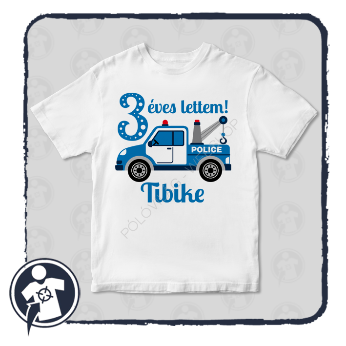 de8c7fb6f7 Gyerekeknek - babáknak   Szülinapi body/póló rendőrautó mintával ...