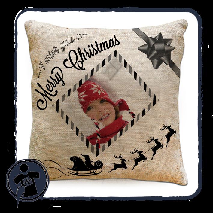Egyedi fényképes karácsonyi párna - zsák anyagú eb4413030e
