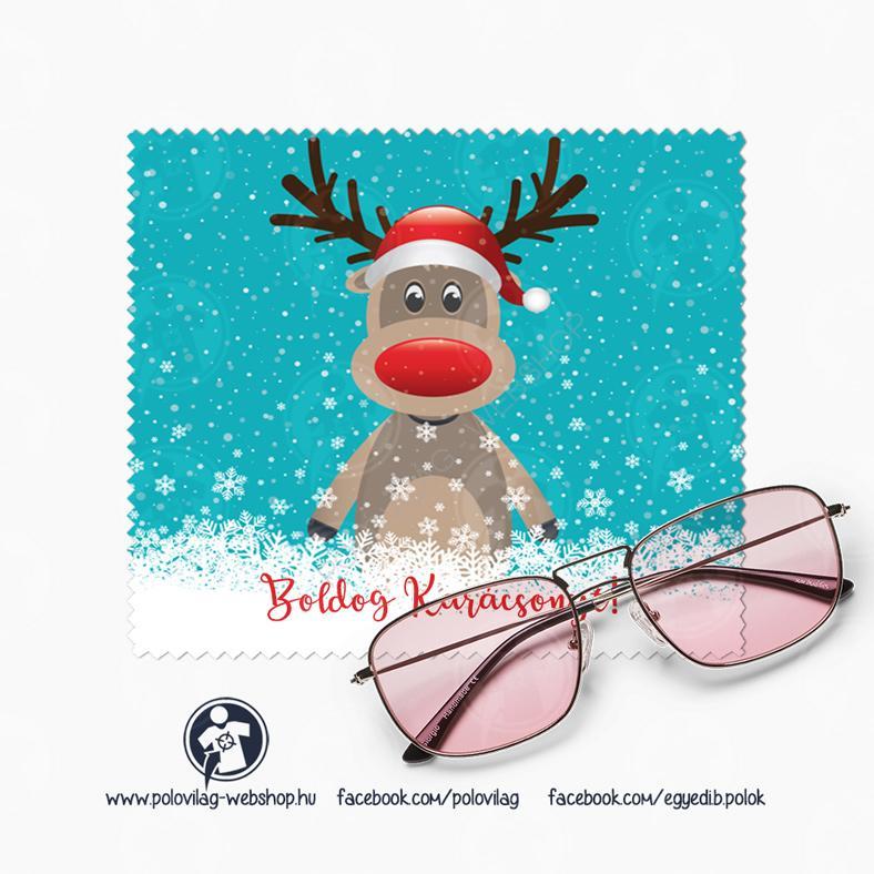 Szemüvegtörlő kendő Télapó, karácsonyi Rudolf mintával