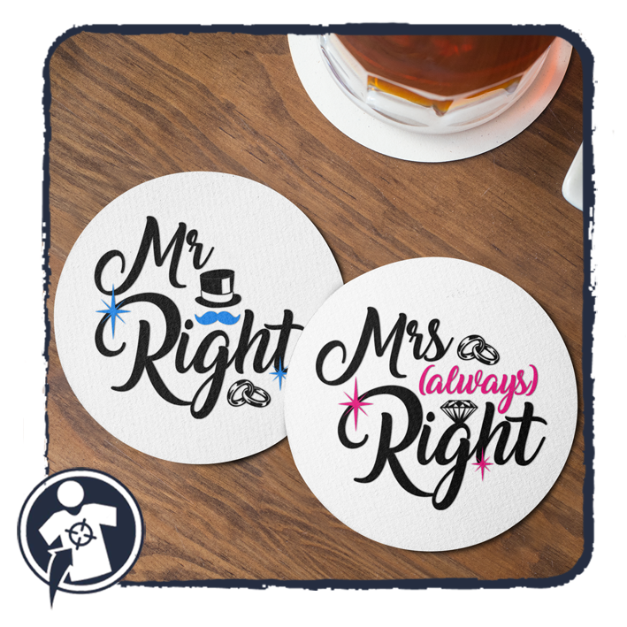 Mr & Mrs (always) Right - páros poháralátét