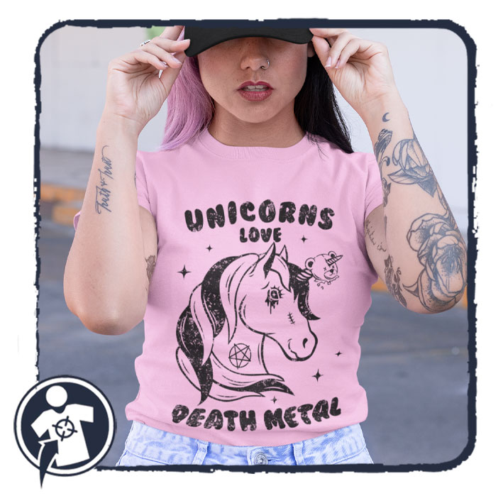 Unicorns love DEATH METAL - feliratos női póló