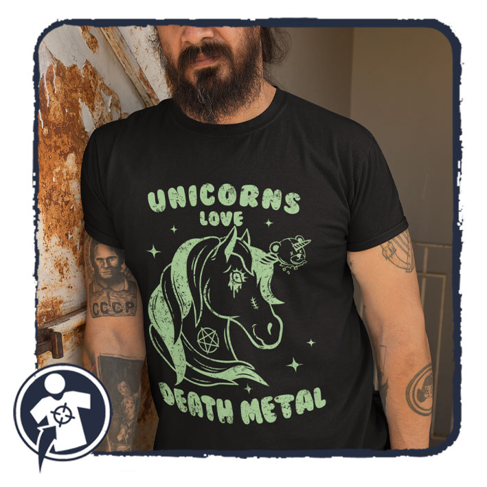 Unicorns love DEATH METAL - feliratos póló