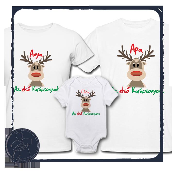 Karácsonyi családi szett - piros orrú Rudolf saját névvel empty b087738981